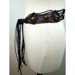 Macrame Tie Belt Fringe Beaded Fits Waist/Hip